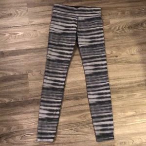 Under Armour Black and Grey Striped Leggings